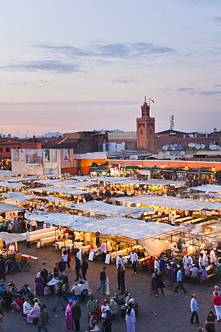 View of the Place Djemaa el Fna in the evening, Marrakech, Morocco, North Africa, Africa