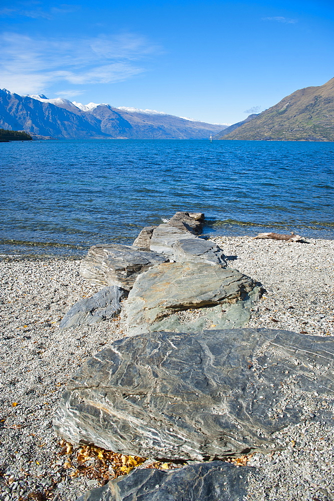 Lake Wakatipu at Queenstown, Otago, South Island, New Zealand, Pacific