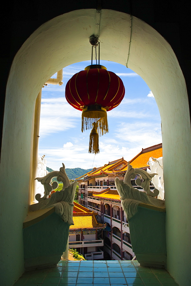 Chinese lantern hanging in an arch window at Kek Lok Si Temple, Penang, Malaysia, Southeast Asia, Asia
