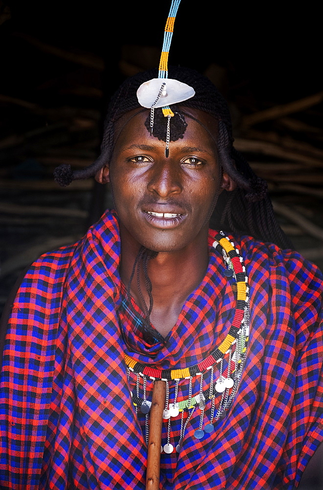 Portrait of a single Masai Mara man wearing traditional jewelry, headpiece and clothes, Masai Mara National Reserve, Kenya, East Africa, Africa - 1111-14