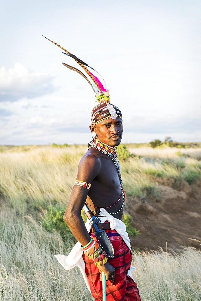 Portrait of a single Samburu tribal member in traditional clothing, Kenya, East Africa, Africa - 1111-29