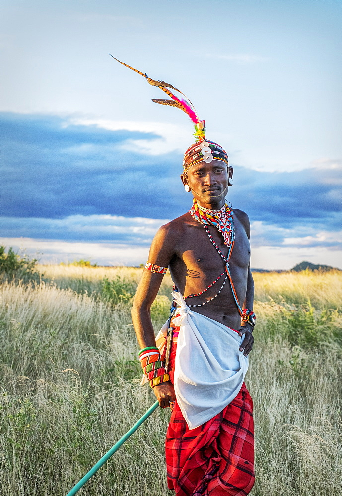 Portrait of a single Samburu tribal member in traditional clothing, Kenya, East Africa, Africa