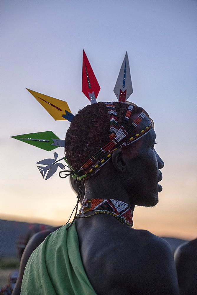 Portrait of Samburu tribal member wearing traditional head piece at dusk, Kenya, East Africa, Africa