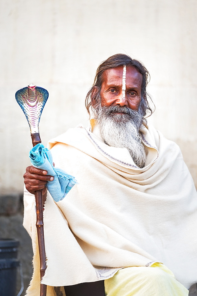 Portrait of Sadhu with cobra cane in Varanasi, India - 1111-75