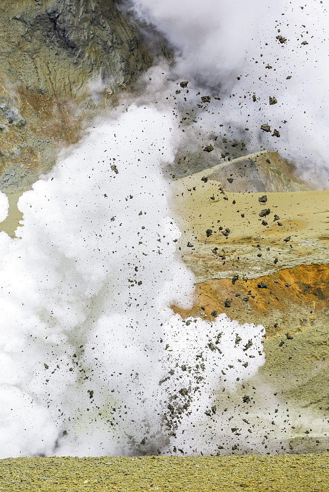 Mud being ejected from the caldera floor of an active andesite stratovolcano on White Island, North Island, New Zealand, Pacific