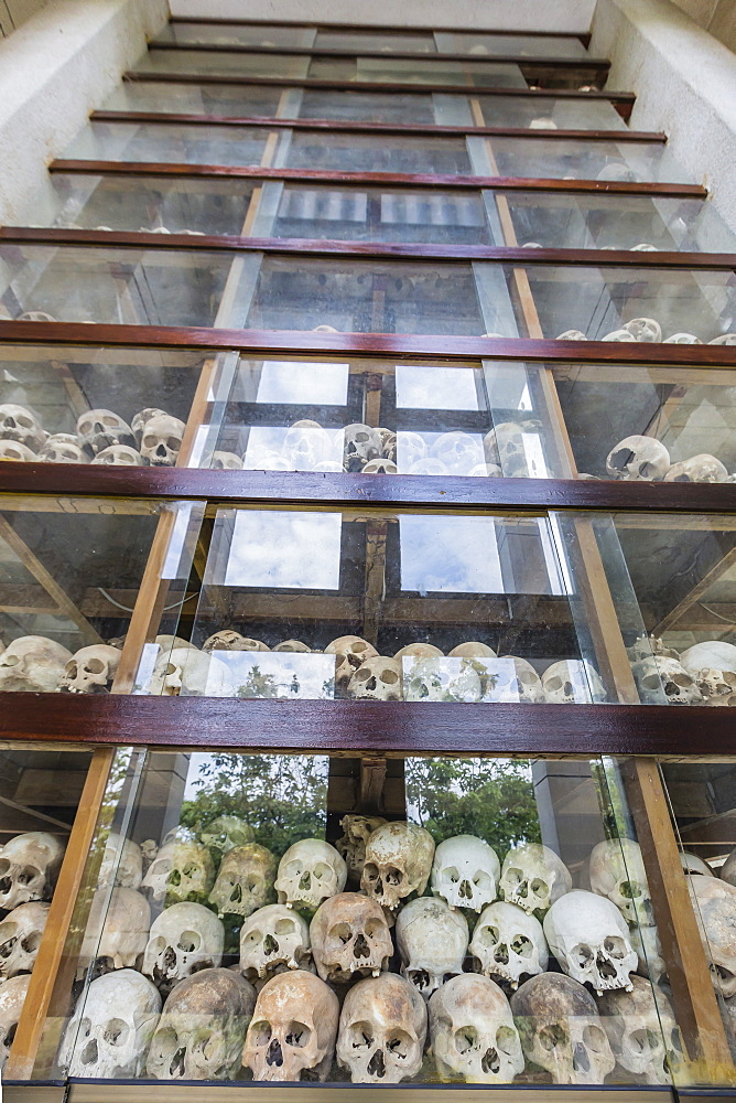 Monument filled with human skulls at the Killing Fields of Choueng Ek, victims under the Khmer Rouge, Phnom Penh, Cambodia, Indochina, Southeast Asia, Asia