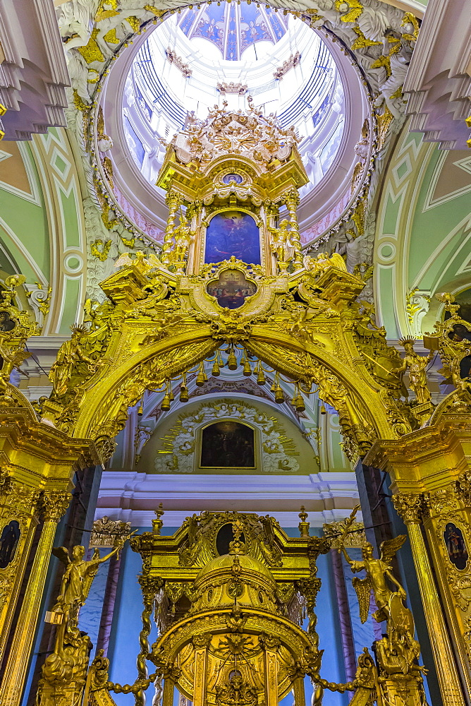 Interior view of the opulence of the cathedral of Saint Peter and Paul, St. Petersburg, Russia, Europe