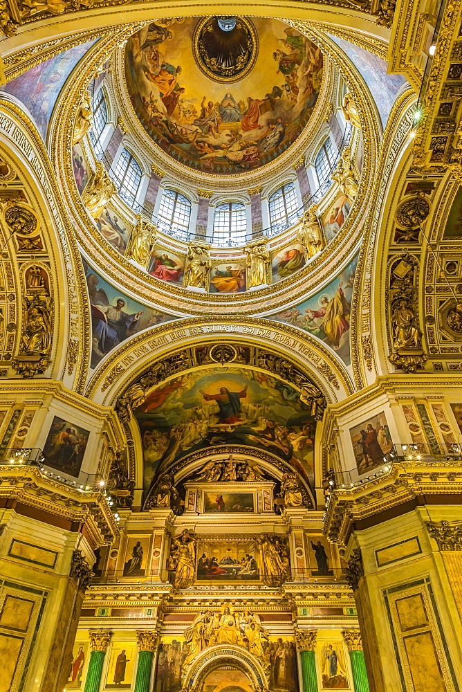 Interior view of St. Isaac's Cathedral, St. Petersburg, Russia, Europe