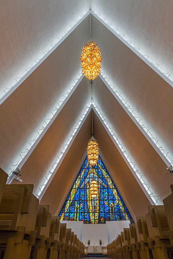Interior view of the triangular repeating ceiling in The Arctic Cathedral, Tromso, Norway, Scandinavia, Europe