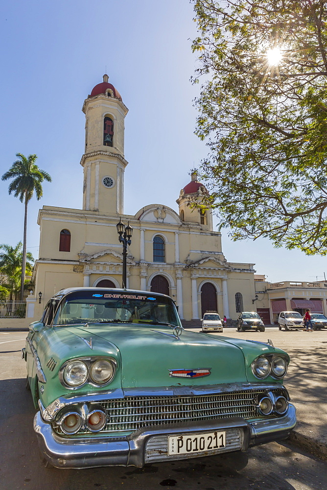 Classic 1958 Chevrolet Bel Air taxi, locally called an almendrone in the town of Cienfuegos, Cuba, West Indies, Caribbean, Central America