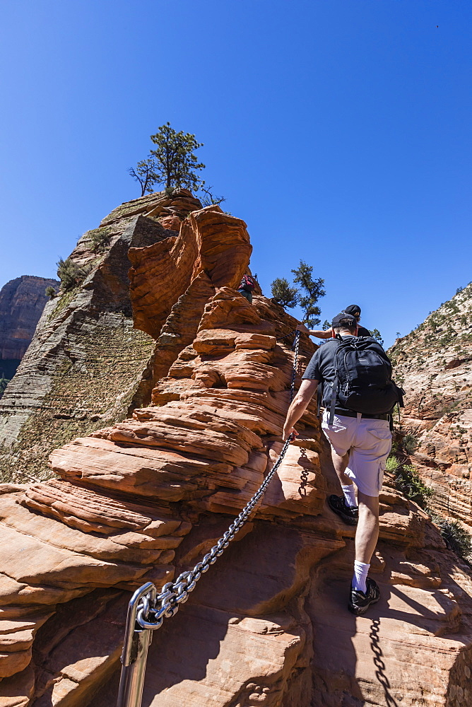 Hiking the Angel's Landing Trail in Zion National Park, Utah, USA.