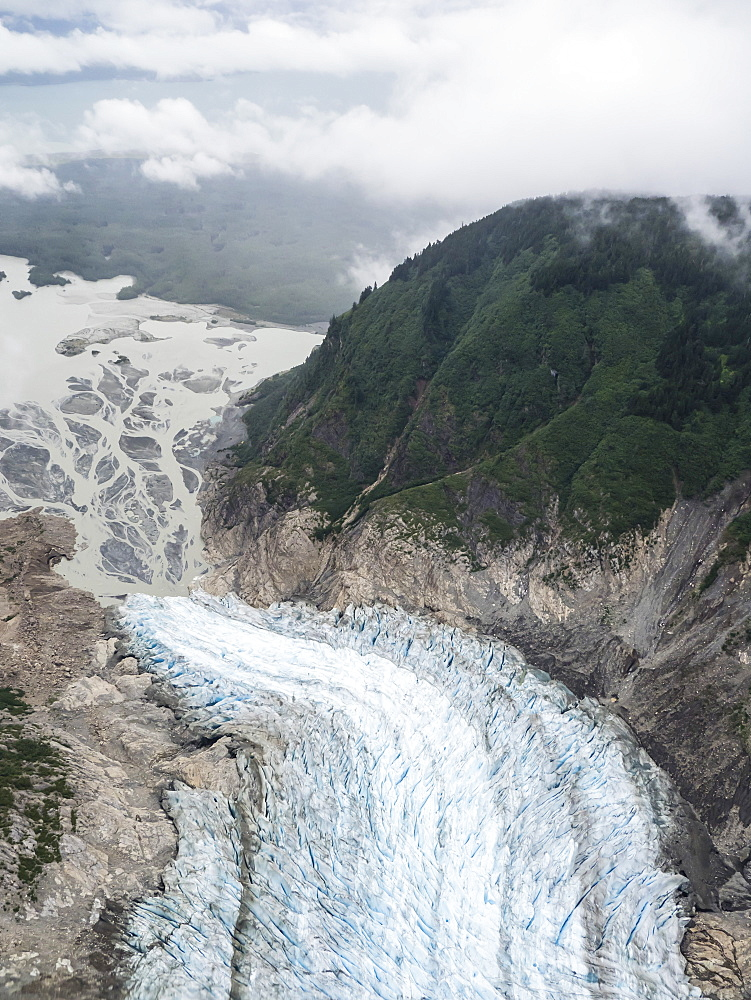 Aerial view of the Davidson Glacier, a valley glacier formed in the Chilkat Range near Haines, Alaska, USA.