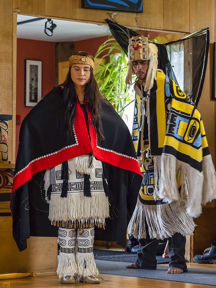 Native dancers in traditional Haida dancing regalia, Old Masset, Haida Gwaii, British Columbia, Canada, North America - 1112-4189