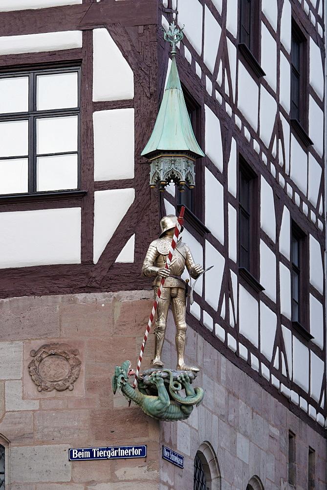 Close up of Pilatus House, Tiergaertnertorplatz, Nuremberg, Middle Franconia, Bavaria, Germany