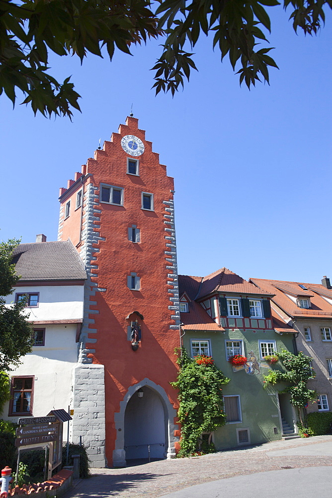 Old town gate in Meersburg, Lake Constance, Swabia, Baden-Wuerttemberg, Germany, Europe