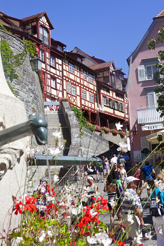 Historical center of Meersburg, Lake Constance, Swabia, Baden-Wuerttemberg, Germany, Europe