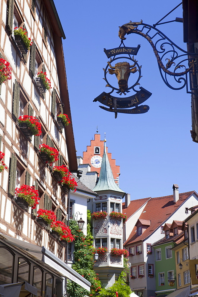 Historical center of Meersburg with shop sign, Lake Constance, Swabia, Baden-Wuerttemberg, Germany, Europe