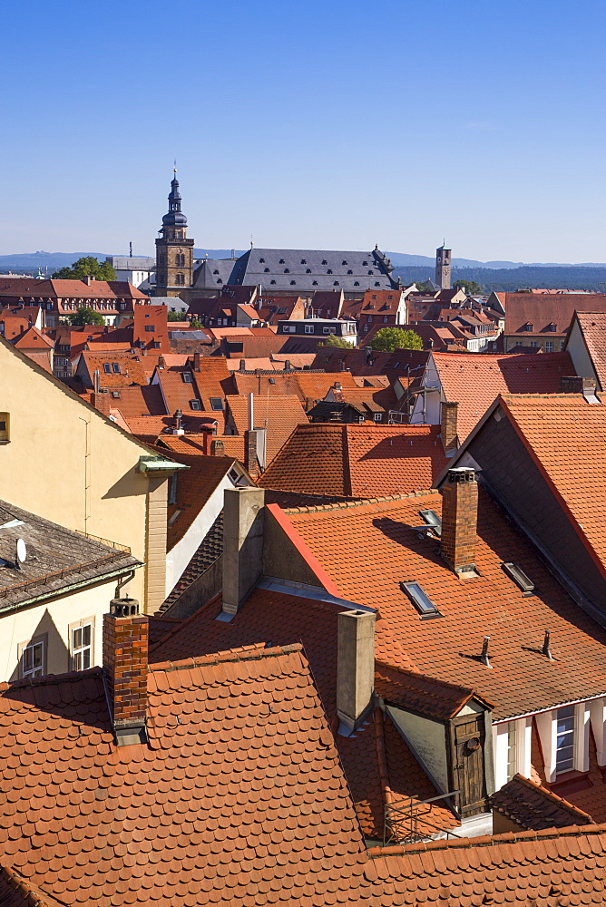 View over rooftops from Domberg, Bamberg, Franconia, Bavaria, Germany
