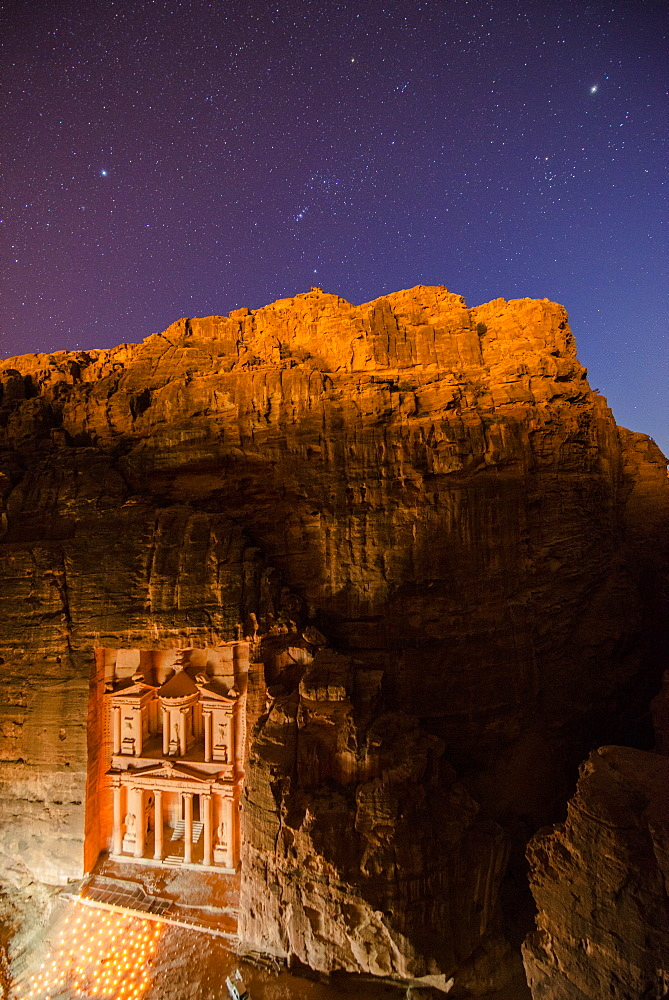 Al Khazneh in candlelight, Petra, Jordan, Middle East