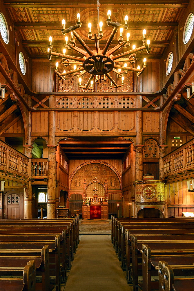Interior of the Stave church in Hahnenklee, Harz, Lower-Saxony, Germany, Europe