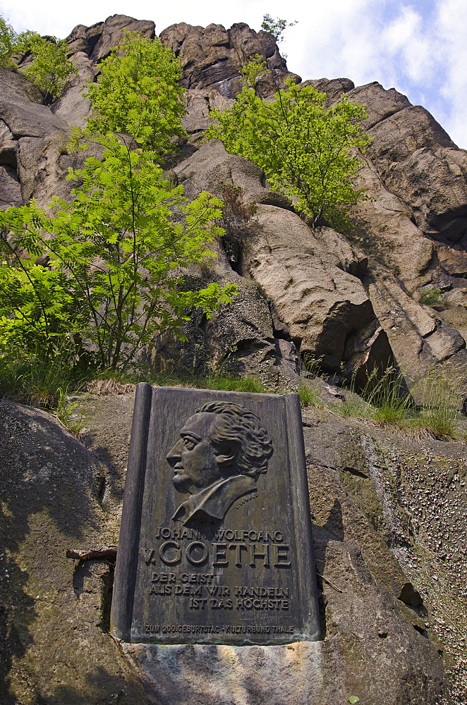 Goethe Rocks with inscript, Bode gorge near Thale, Harz, Saxony-Anhalt, Germany, Europe
