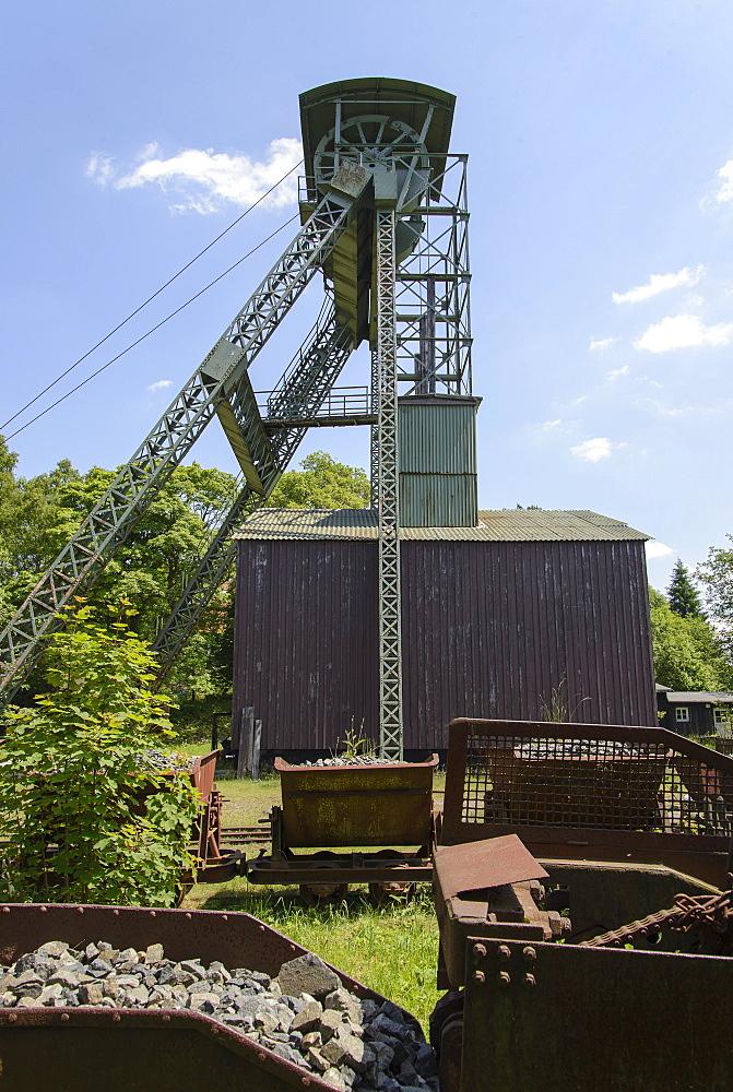 Ottiliaeschacht, pit head tower, Clausthal-Zellerfeld, Harz, Lower-Saxony, Germany, Europe