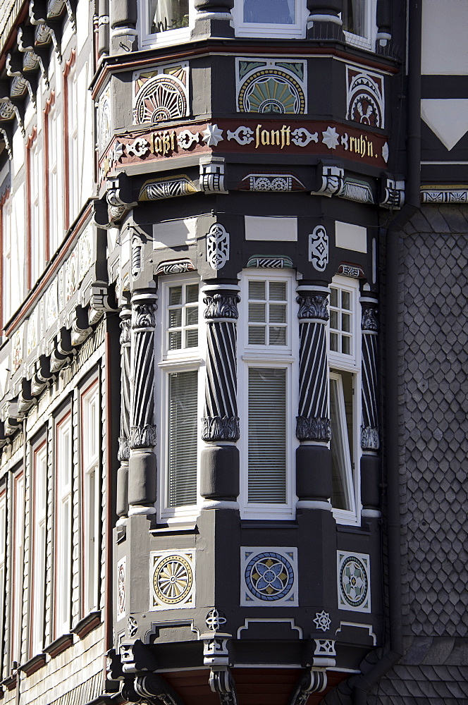 Half-timbered house in the city center, detail, Goslar, Harz, Lower-Saxony, Germany, Europe