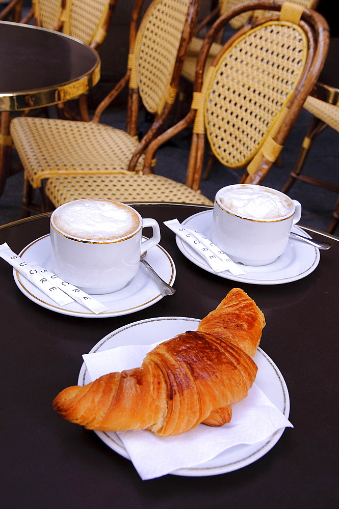 Coffee and croissant at Place Colette, Paris, France, Europe