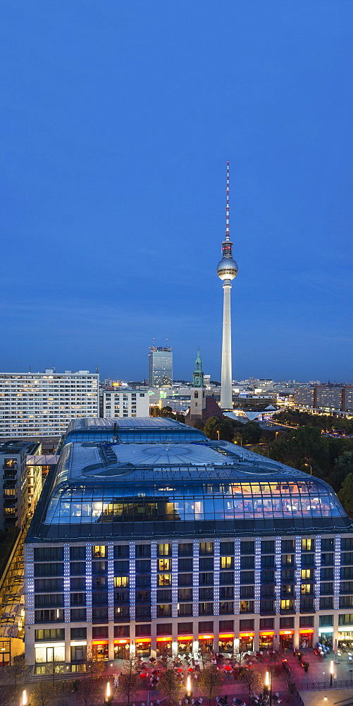 Panoramic view from the cathedral towards Alexanderplatz, DDR Museum and town hall, Berlin, Germany
