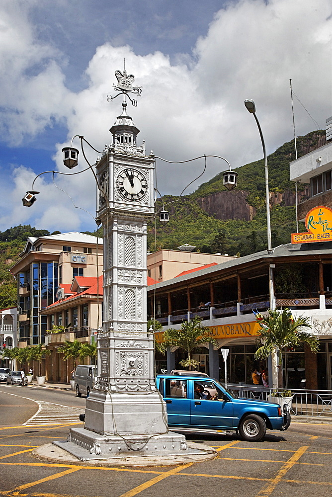 Clock tower, Victoria, Island of Mahe, Seychelles, Indian Ocean, Africa