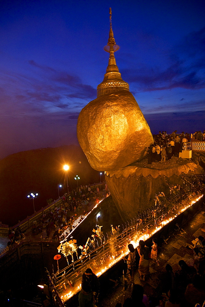 Buddhist pilgrims at the Golden Rock to celebrate the November full moon Tazaungdaing, Kyaiktiyo, Mon State, Myanmar