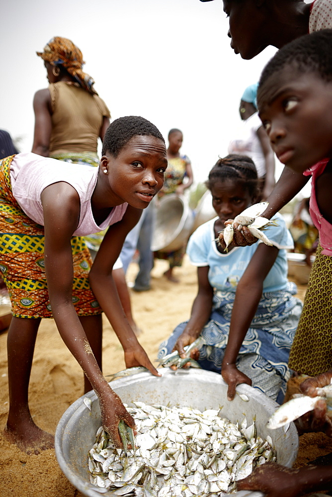 Woman and children selecting trawl fish catch, Grand-Popo, Mono Department, Benin