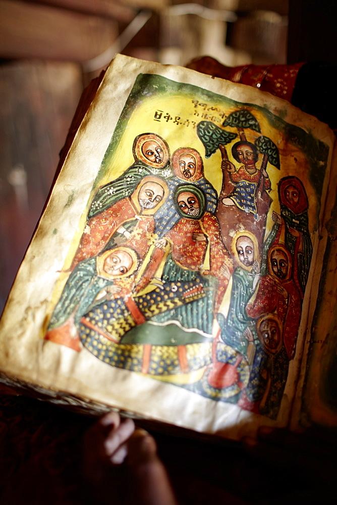 Old goat skin book written in Geez, monastery Debre Damo, near Adigrat, Tigray Region, Ethiopia