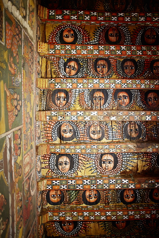 Ceiling fresco of winged angel heads in a monastery, Debre Berhan Selassie, Gondar, Amhara region, Ethiopia