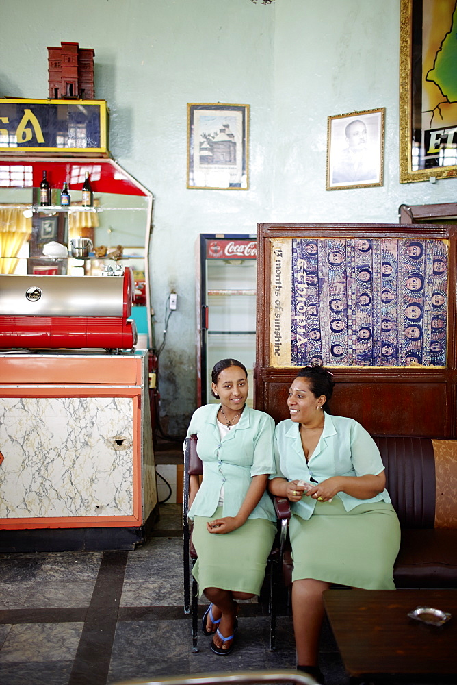 Two waitresses in a hotel cafe, Gondar, Amhara region, Ethiopia