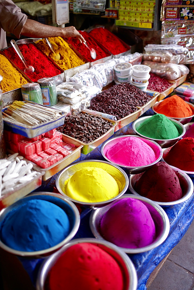 Kumkum, coloured powder for Bindi dots, stall at Devaraja Market, Mysore, Karnataka, India