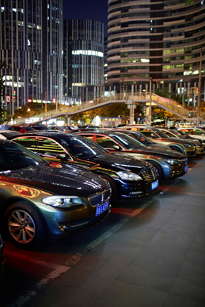 Cars in the parking lot, Sanlitun area, Chaoyang District, Beijing, China