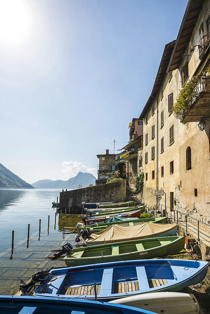 Boats at anchor in Gandria, Lugano, Lake Lugano, canton of Ticino, Switzerland