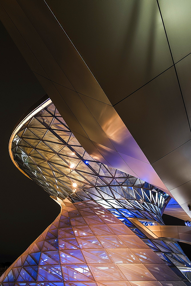 Helix BMW Welt with colorful lighting, BMW Welt, Munich, Bavaria, Germany