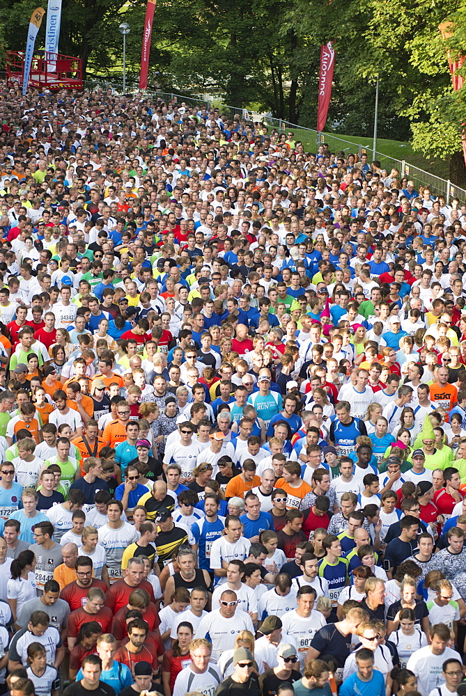 B2Run or Firmenlauf 2014 runners waiting for the start, Olympiapark, Munich, Bavaria, Germany