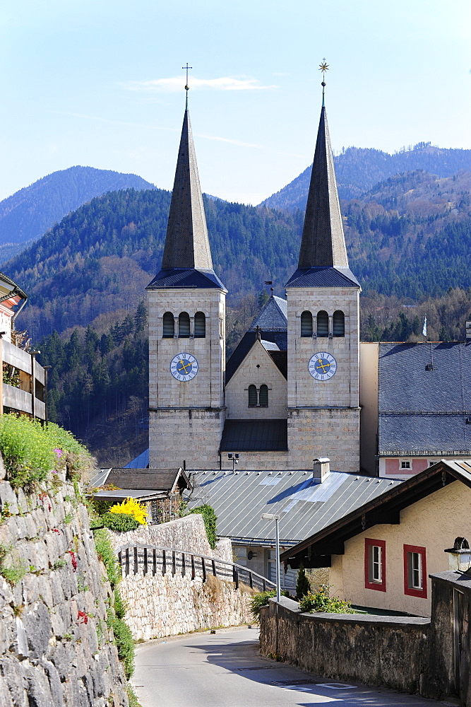 Collegiate Church St. Peter and John the Baptist, Berchtesgaden, Bavarian Alps, Upper Bavaria, Bavaria, Germany