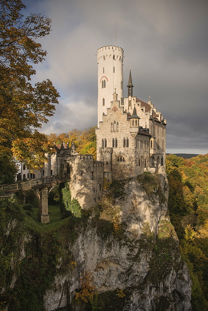 View of Lichtenstein castle in autumn, Swabian Alp, Baden-Wuerttemberg, Germany