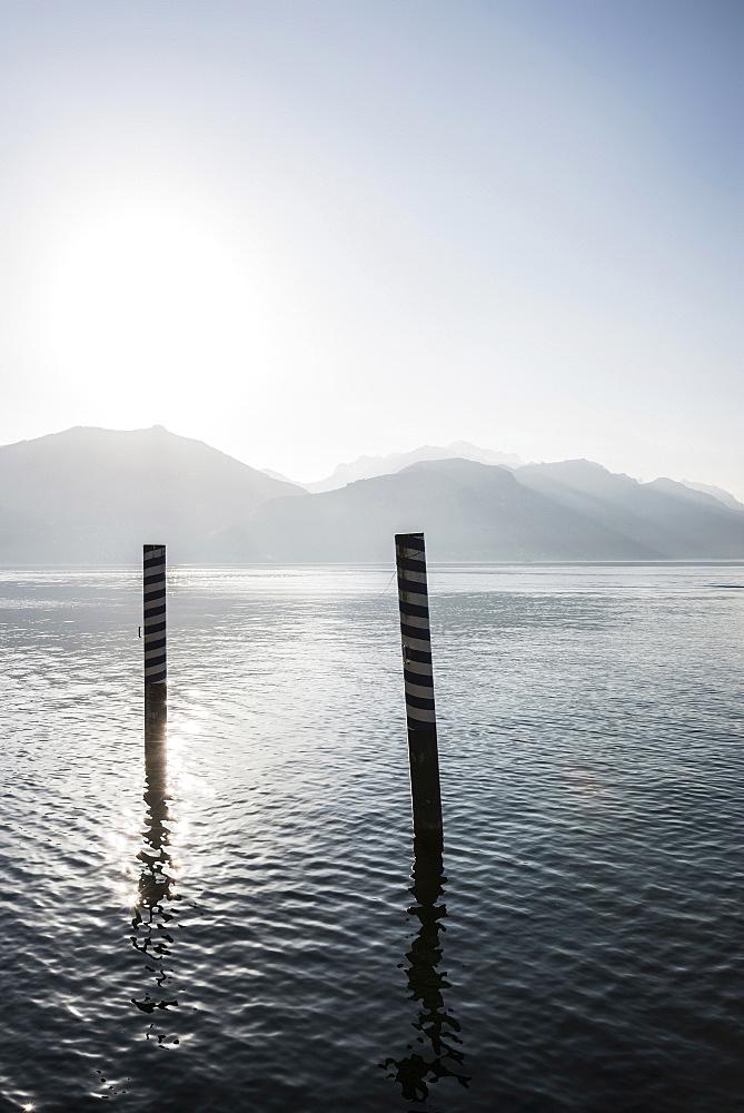 Jetty at Lake Como, Lago di Como, Menaggio, Province of Como, Lombardy, Italy