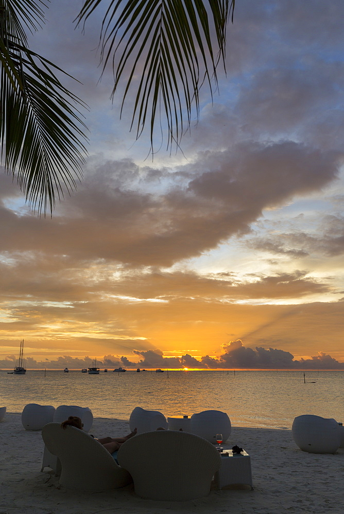 Sunset and beach-bar at Meeru Island Resort, Meerufenfushi, North-Male-Atoll, Maldives