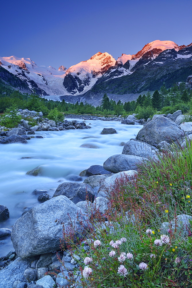 Stream in the mountains with view to Bernina range, valley of Morteratsch, Morteratsch, Bernina, Upper Engadin, Engadin, Grisons, Switzerland