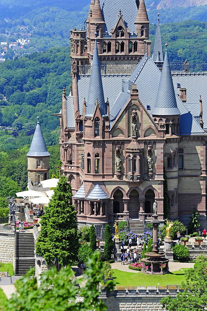View towards the Drachenburg castle, Drachenfels, Siebengebirge, Koenigswinter, Rhineland, NRW, North Rhine-Westphalia, Germany