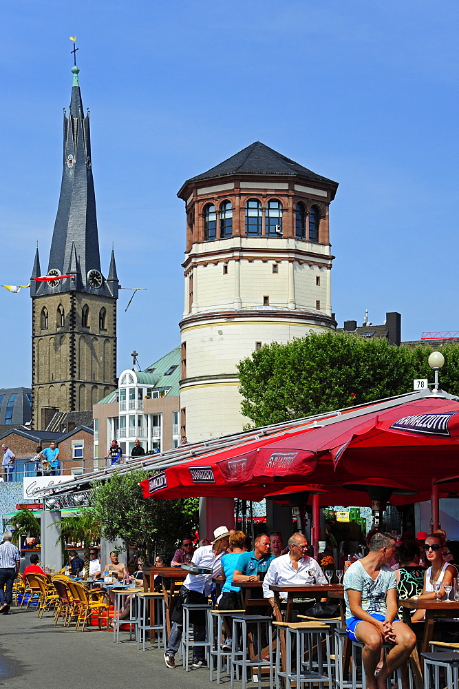 Rhine riverbank promenade with St. Lambertus church and castle tower, historic city centre, Duesseldorf, Dusseldorf, Rhineland, NRW, North Rhine-Westphalia, Germany
