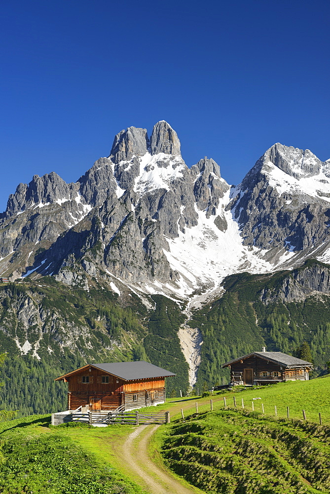 Alpine hut with mount Bischofsmuetze in background, Sulzenalm, Dachstein Mountains, Salzburg, Austria