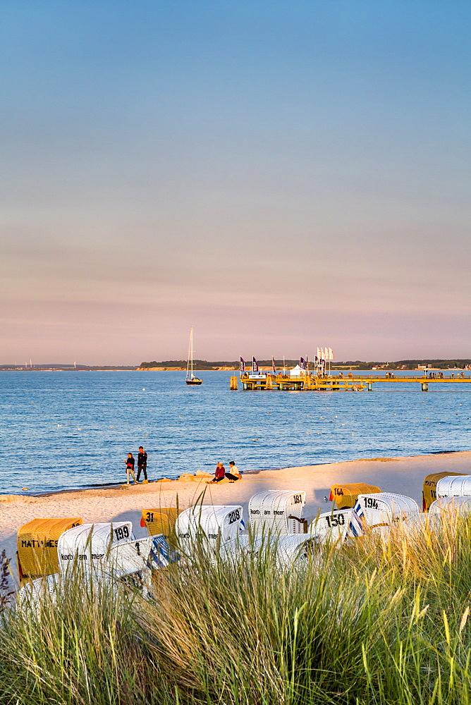 Beach, beach chairs and dunes, Scharbeutz, Baltic Coast, Schleswig-Holstein, Germany