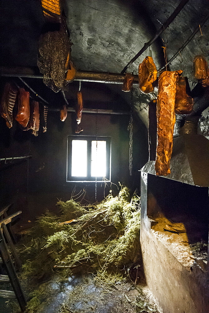 smokehouse, Black Forest Ham, Untermuehlbachhof, St.Georgen-Peterzell, Black Forest, Baden-Wuerttemberg, Germany